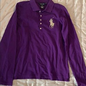 NWT Ralph Lauren Purple Girls Polo Sz 16 XL.